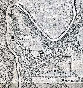"1866 Michler map showing Quaker cemetery fenced in beneath the word ""Cliffburne,"" 14 years before the establishment of the larger African American cemetery at the site."