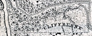 1866 Michler map close-up showing fenced Quaker cemetery.