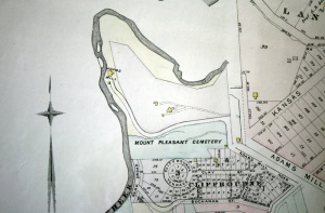 1887 map showing Mount Pleasant Cemetery and prospective development south of the site.