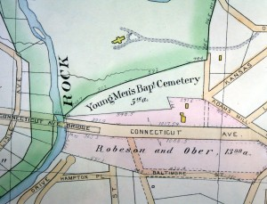 1894 Hopkins map showing some prospective streets and naming today's Calvert Street as Connecticut Avenue; the cemetery is named Young Men's Baptist Cemetery--the name used by Zoo officials in acquiring part of the cemetery land in 1890.