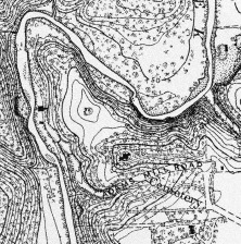 1894 topographic map showing cemetery entrance from Adams Mill Road (east side). Mill buildings once owned by John Quincy Adams are still visible northwest of the cemetery.