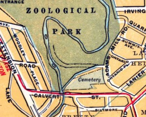 1910 Foster & Reynolds map showing the land as a cemetery, even though burials had ceased in 1890.