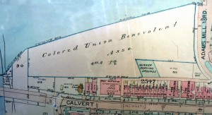 1919 Baist's map showing cemetery land owned by Colored Union Benevolent Association and the Quaker Burying Grounds, 29 years after both cemeteries were closed.
