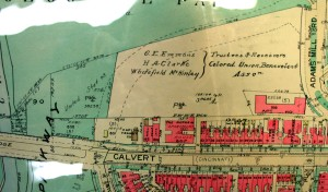1937 Baist's map, showing former cemetery land at west end purchased by the United States (National Park Service), and the eastern side owned by court-appointed trustees of the Colored Union Benevolent Association