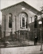 The Association held meetings at Asbury Methodist Church, shown here as it looked in 1866, at 11th and K streets, N.W.