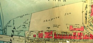 1945 Baist's map showing former cemetery land after purchase by Shapiro Brothers developers; on the west is the former cemetery land purchased earlier by the United States (National Park Service)